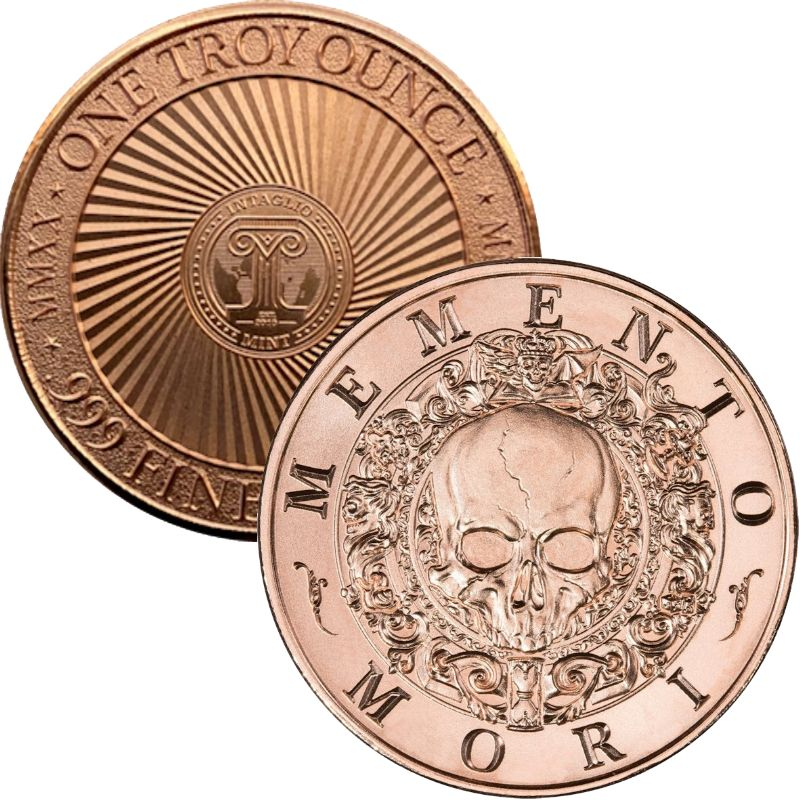 "Memento Mori ~ ""Remember You Must Die"" ~ (2020 Reverse) 1 oz .999 Pure Copper Round"